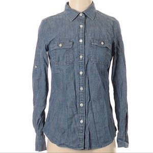 J. Crew  Fact. chambray button up shirt